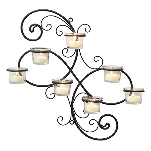 51hWysUWHqL - Stonebriar Transitional Scrolled Ivy Tea Light Candle Holder Hanging Wall Sconce, Modern Home Decor for Living Room, Bedroom, Hallway, or Bathroom, Black