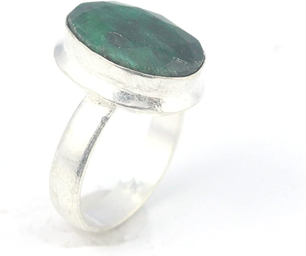 EMERALD FASHION JEWELRY .925 SILVER PLATED RING 6 S24048