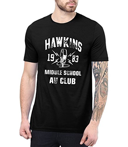 Black Hawkins AV Club Cool T Shirts for Men | Hawkins AV, L