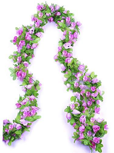Sale-6 Strand 240 Blooms 45 Ft Large Bundle Artificial Blush Pink Silk Rose Flower Garland, Fake Hanging Leaf Vines, for Indoor Outdoor Wedding Home Decor ()
