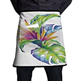 Guiping Tropical Leaves And Monstera With Abstract Color Scheme Hawaiian Floral Elements Kitchen Apron With Pockets For Men And Women