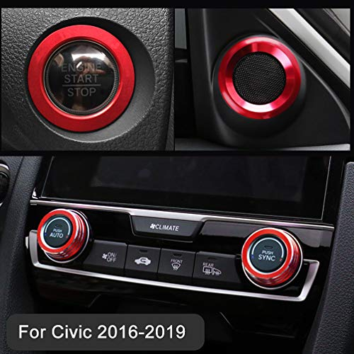 TopDall Aluminum Audio Speaker Engine Ignition Air Condition AC Switch Buttons Ring Sticker Decoration Trim for Honda Civic 10th Gen 2016-2019(Full Set)