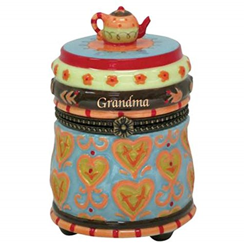 "WL SS-WL-17655 ""Grandma"" Ceramic Limoges Box with Decorated Teapot on Top, 4"""