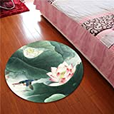 Rug WAN SAN QIAN- 3D Round Carpet Chinese Office Carpet Basket Swivel Chair Carpet Mats Children Bedroom Lotus Carpet (Color : B, Size : 100x100cm)