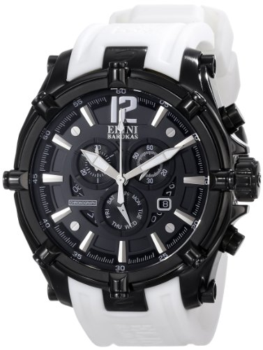 Elini Barokas Men's ELINI-10179-BB-01-WHTS Fortitudo Analog Display Swiss Quartz White Watch - Elini Black Chronograph