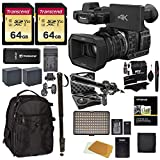 Panasonic HC-X1000 4K-60p/50p Camcorder with High-Powered 20x Optical Zoom & Professional Functions + 2X 64GB + Vidpro XM-55 Microphone Kit + Monopod + LED Light + Backpack + Accessory Bundle