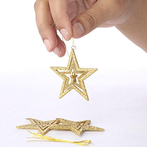 Glittered Star Ornament - Factory Direct Craft Package of 24 Dimensional 2 Inch Gold Glittered Star Hanging Ornaments for Designing, Embellishing and Crafting