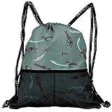 SARA NELL Drawstring Backpack Weapons Pistol Cutlass Sword Gym Sport Bag Travel Bag Portable Backpack School Rucksack
