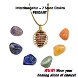 quart crystal pyramid - 7 Chakra Healing Natural Beautifully Polished Gemstones With BONUS Golden Spiral Cage Pendent Necklace. Certificate and Chakra Information Card Included