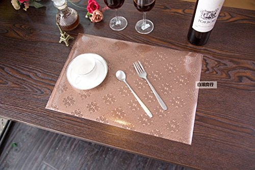 2016 New High-Grade PVC Waterproof Placemats Gold Rose Pattern Continental Hotel Cafe Table Mat Pad Brown Square