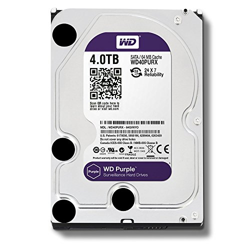 WD Purple 1TB Surveillance Hard Disk Drive - 5400 RPM Class SATA 6 Gb/s 64MB Cache 3.5 Inch - WD10PURX [Old Version] (Renewed)