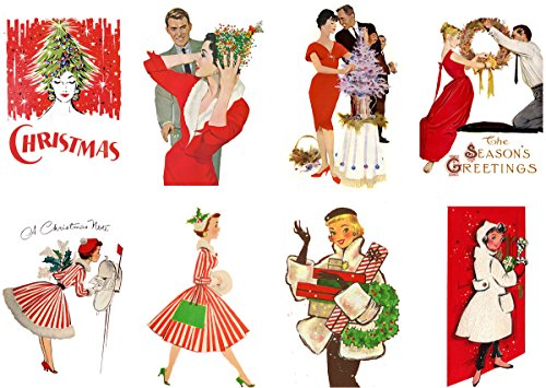"""Large Stickers (each sticker 2.5x3.5"""", 8 pics on sheet) Vintage Christmas Girl Happy FLONZ Craft"""