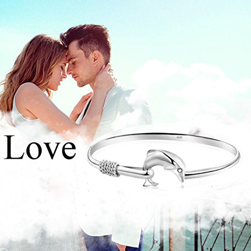 - Botrong European Fashion Jewelry Solid Dolphin Clasp Bangle Bracelet
