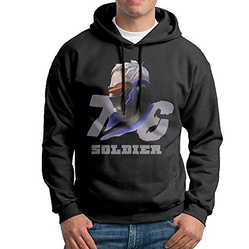 [ROTATEL Men's Shooter Video Game OW Soldier 76 Classic Hoodie Sweater Size XXL Black] (Seventies Fashion Costumes)