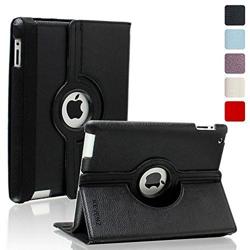 Kevenz 360 Degree Rotating Case with Back Case for iPad 2/3/4 - Black primary