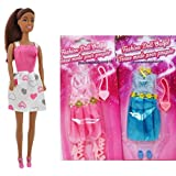 "African American Fashion Dolls, 11"" with different clothes. Introduce them to your Barbie collection. Great favors for Birthday Party gifts 1 DOLL and 2 OUTFIT BUNDLE"