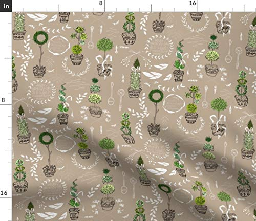Herb Fabric - Herbal Topiary Summer Kitchen Decor Pots Garden Basil Mint Lavender Rosemary Print on Fabric by The Yard - Sport Lycra for Swimwear Performance Leggings Apparel Fashion