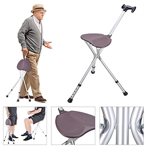 Koval Inc. Folding Seat Cane Walking Stick Adjustable Height (Silver) (For Sale Cane Stools)