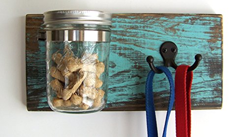 Dog Leash Holder and Treat Jar Organizer by Out Back Craft Shack: Farmhouse Decor in Rustic Teal (Hand Holder Painted Wooden Leash)