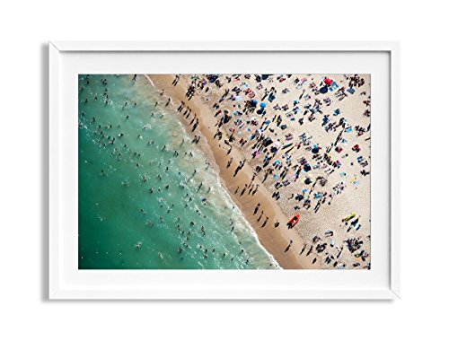 30x42'' Framed Extra Large ''Bondi Split'' Bondi Beach Australia Aerial Beach Photography Print by Daydrift