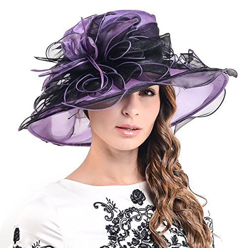 Ladies Kentucky Derby Church Hat Wide Brim Leaf Flower Bridal Dress Hat s037 (Purple&Black) ()
