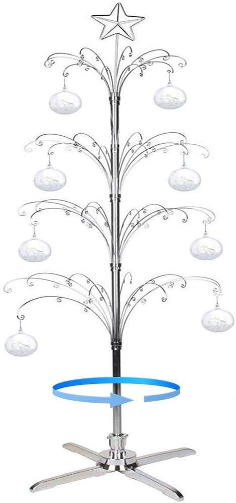 HOHIYA Christmas Tree Ornament Display Stand Metal Rotating Dog Cat Glass Ball 6 to 7 Feet Silver