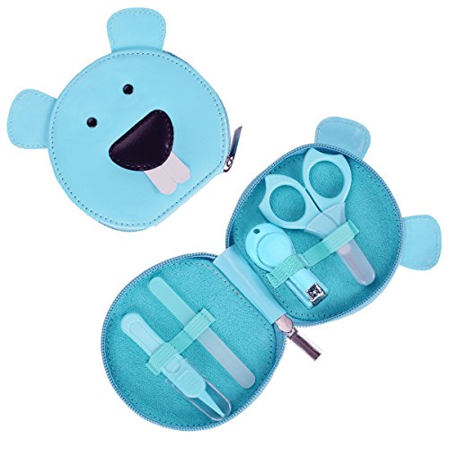 Livememory Baby Manicure Kit Infant Nails Clipper Set Baby Grooming Kit with Baby Nail Scissors, Nail File, Nasal Tweezers - 4 Piece - Blue