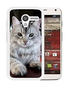 New Custom Designed Cover Case For Motorola Moto X With Staring Cat Animal Mobile Wallpaper (2) Phone Case