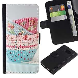 Billetera de Cuero Caso Titular de la tarjeta Carcasa Funda para Samsung Galaxy S6 SM-G920 / Cupcake Cooking Chef Pastry Polka Dot / STRONG