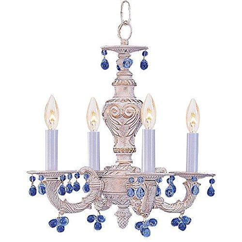 - Siam Circus Sutton 4-light Antique White Blue Murano Mini Chandelier