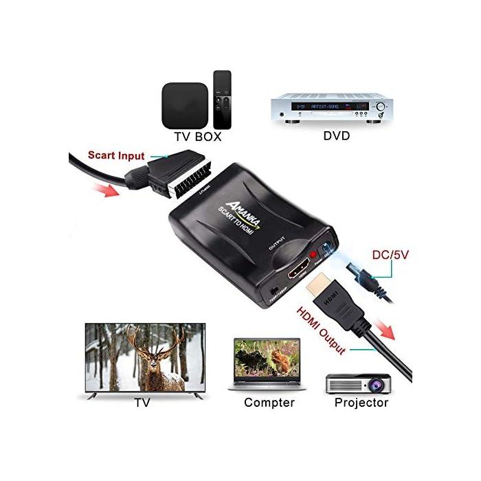 51hX0uUx eL Como conectar euroconector a HDMI https://www.youtube.com/watch?v=LUe9v19vdjY&ab_channel=TXATARRISTA Haz clic aquí para comprobar si este producto es compatible con tu modelo ☀【Convertidor Euroconector a HDMI Conversor】Convertir Vídeo Compuesto y audio Señal a Digital HDMI y Señal de Audio,No se puede usar en reversa(Nota: este producto no soporta resolución 4K) ☀【Procesamiento Avanzado de Señal】Se trata de un conversor de señal analógica a digital utilizando como entrada una señal SCART y salida un cable HDMI; Proporciona Procesamiento Avanzado de Señales con Gran Precisión, Colores, Resoluciones y Detalles euroconector a hdmi