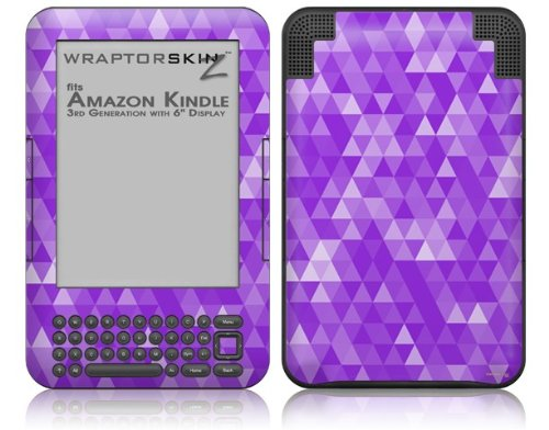 Triangle Mosaic Purple - Decal Style Skin fits Amazon Kindle 3 Keyboard (with 6 inch display)