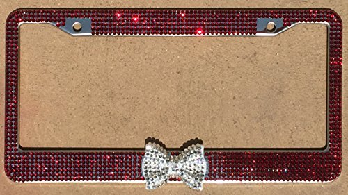 - zusooz January Birthstone, Red Garnet Bling Rhinestone License Plate Frame Holder with Crystal Bling Bow, Girl Car Accessory Clear/Diamond Bow (Garnet/Clear)
