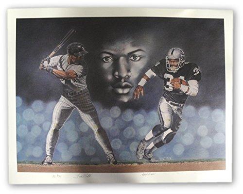 Oakland Raiders Nfl Hand Signed - Bo Jackson Hand Signed Auto Large Poster Baseball Football Royals Oakland Raider