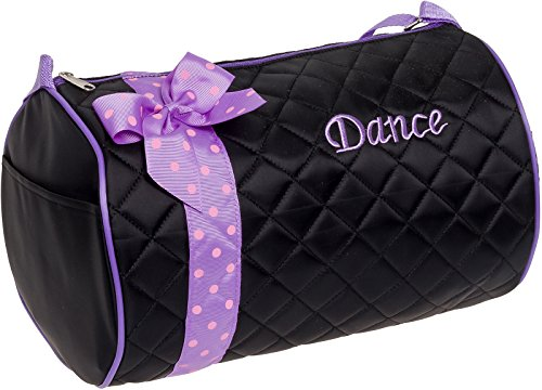 Silver Lilly Girls Dance Bag - Quilted Duffle Bag w/Lavender Bow (Black) -