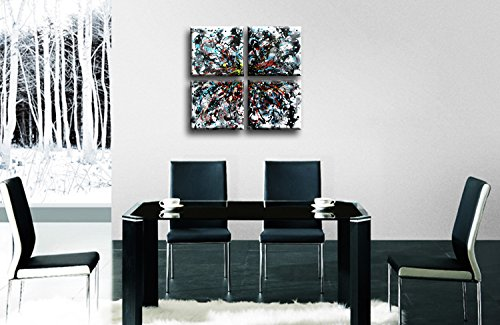 Cherish Art 100% Hand Painted Abstract Oil Paintings Colorful Random 4 Panels Wood Framed Inside For Living Room Art Work Home Decoration