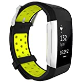 """NOMSOCR for Fitbit Charge 2 Bands (5.7"""" - 8.3""""), Replacement Breathable Sport Silicone Bands with Air Holes for Fitbit Charge 2 Women Men (Black Yellow)"""