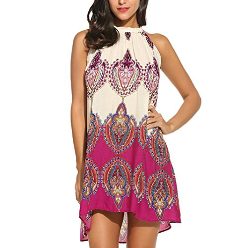 Casual Sleeveless Halter Neck Boho Print Short Dress Sundress from NewKelly