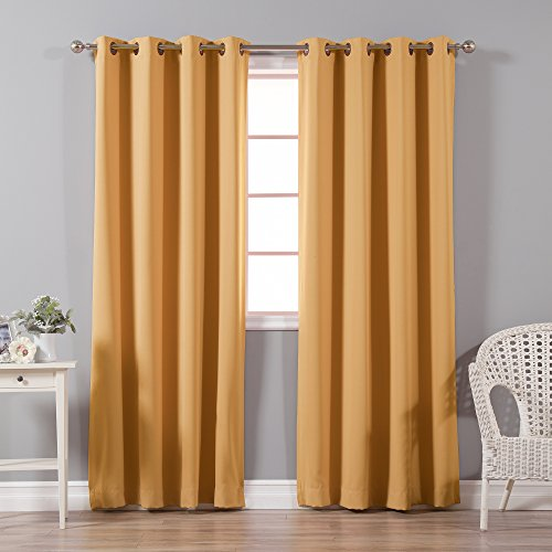 Best Home Fashion Thermal Insulated Blackout Curtains - Antique Bronze Grommet Top - Orange - 52
