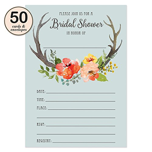 Boho Bridal Shower Invitations with Envelopes ( Pack of 50 ) Rustic Bridal Shower Invites Excellent Value Wedding Party Invitations VI0003