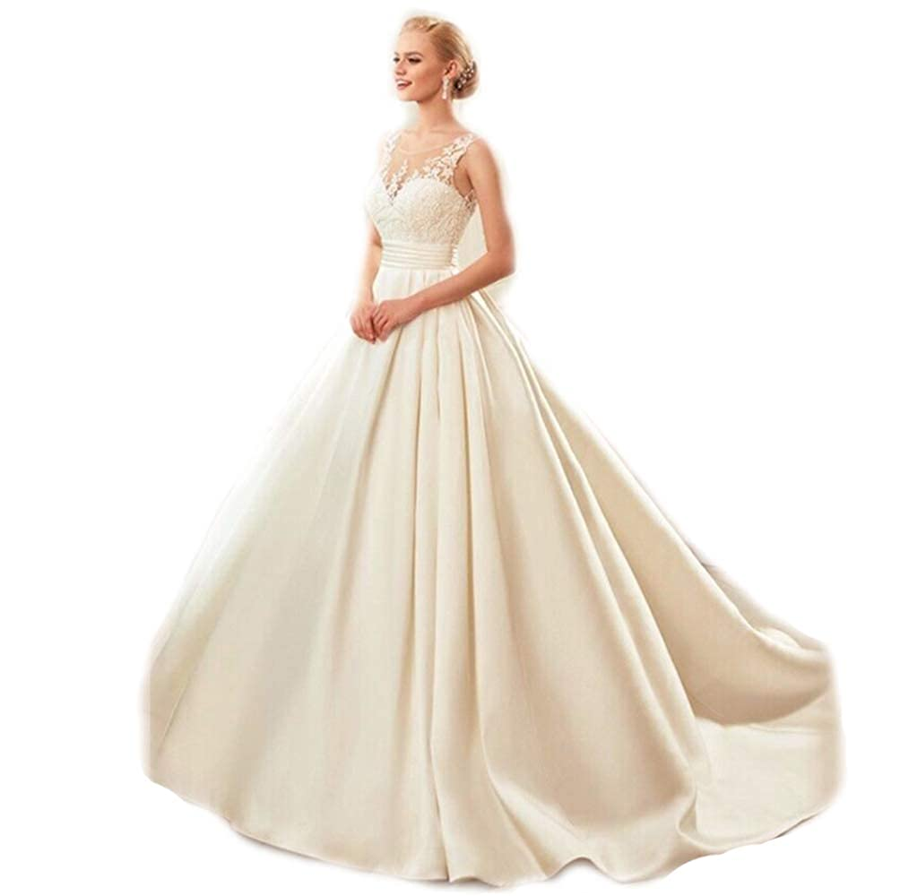Sleeveless Satin Lace Wedding Bridal White Backless Prom Tail With