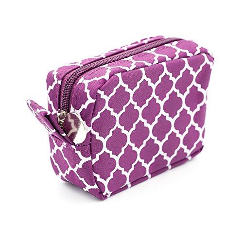 Purple Cosmetic Bag, Small Sized Makeup Toiletry Bag, Trellis Quatrefoil Arabesque Pattern (Small)