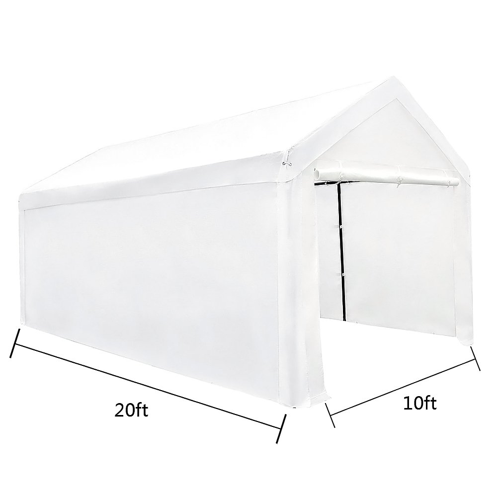 Le Papillon 10 x 20-Feet Heavy Duty Carport, Portable Garage Car Canopy Shelter with Detachable Sidewalls, White