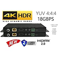 HDbaseT Extender Kit HDR HDMI 2.0B 18GBPS 4K @ 60hz UltraHD YUV 4:4:4 Uncompressed 230FT 70M Transmitter Receiver IR RS232 (CAT5e or CAT6) HDCP2.2 HDTV CRESTRON CONTROL4 SAVANT HOME AUTOMATION 4K2K