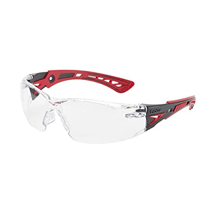 Bolle Safety 41080 Rush+ Safety Glasses, Black & Red Frame, Clear Lenses