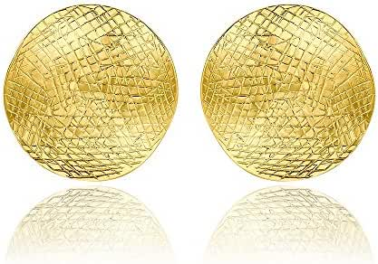 Red Plume® New York Hammered Disc Stud Earrings Oblate Ball Western British Style