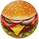 Large Burger Round Beach Towel - Luxury Thick, Soft & Absorbent Terry Cotton Roundie 59 inch (Cheeseburger)