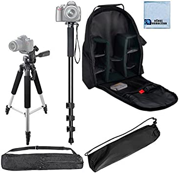 57 Inches Pro Series Aluminum Camera Tripod Microfiber Cloth Pro Series 72 Monopod w// Quick Release Deluxe Digital Camera // Video Padded Backpack for DSLR Cameras