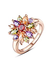 Bamoer 18K Rose Gold-Plated Colorful Cubic Zirconia Promise Finger Rings Size 6 7 8 9 Christmas Gift