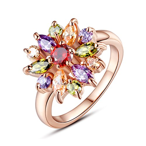 BAMOER 18K White Rose Gold Plated Cubic Zirconia Snowflake Ring for Women Girls CZ Jewelry Fashion Ring 3 Style Rose Gold & Multicolor CZ Ring Size 8 (Shaped Ring Rose)